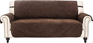 RHF Faux Suede Sofa Cover, Couch Covers for 3 Cushion Couch, Couch Cover, Sofa Covers for Living Room,Couch Covers for Dogs, Sofa Slipcover, Couch Protector (Sofa: Chocolate)