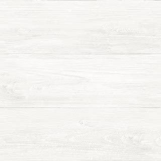 NuWallpaper NU3129 Reclaimed Shiplap Peel & Stick Wallpaper, White/Off-White