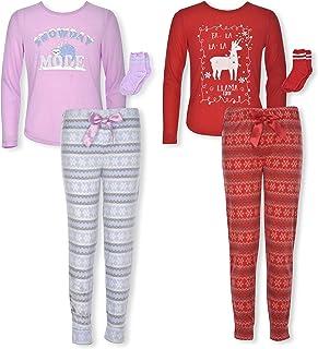 Sleep On It Girls 6-Piece Long Sleeve Jersey & Fleece Pajama Set with Socks