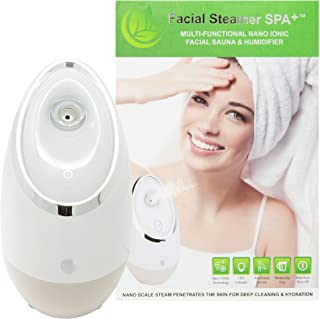 Facial Steamer SPA+ by Microderm GLO BEST, Professional Nano Ionic Warm Mist, Home Face Sauna, Portable Humidifier Machine, Deep Cleaning Pores, Blackhead Removal, Acne Treatment, Daily Skin Hydration