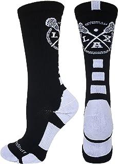 MadSportsStuff LAX Lacrosse Socks with Lacrosse Sticks Athletic Crew Socks (Multiple Colors)