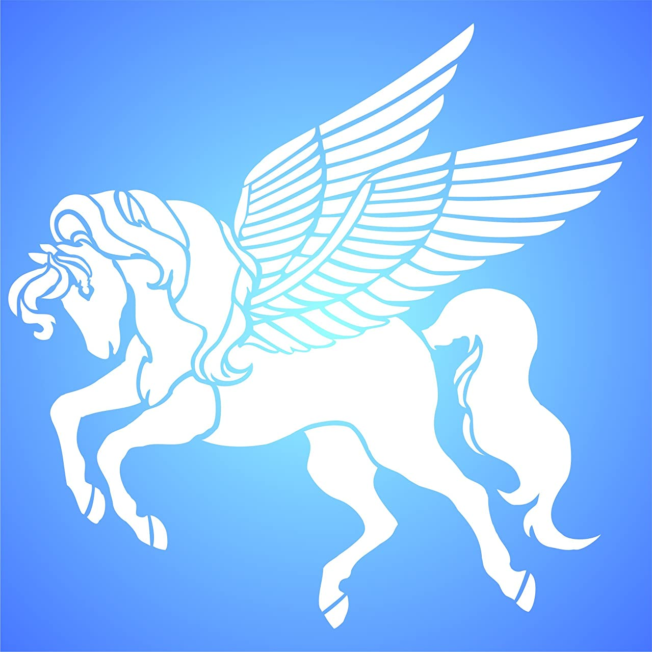 "Pegasus Stencil - (size 16""w x 14""h) Reusable Wall Stencils for Painting - Best Quality Flying Horse Ideas - Use on Walls, Floors, Fabrics, Glass, Wood, Terracotta, and More…"