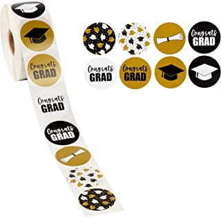 Graduation Stickers - 1000-Count Favor Label Sticker Roll with Various 2019 Graduation Printed Designs Featuring Graduation Caps and Diplomas, Graduation Party Favors, 1.5 Inches
