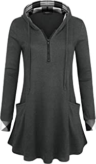 VALOLIA Women's Pullover Hooded Sweatshirt Long Sleeve T Shirt Color Block Thin Tunic Top with Pockets