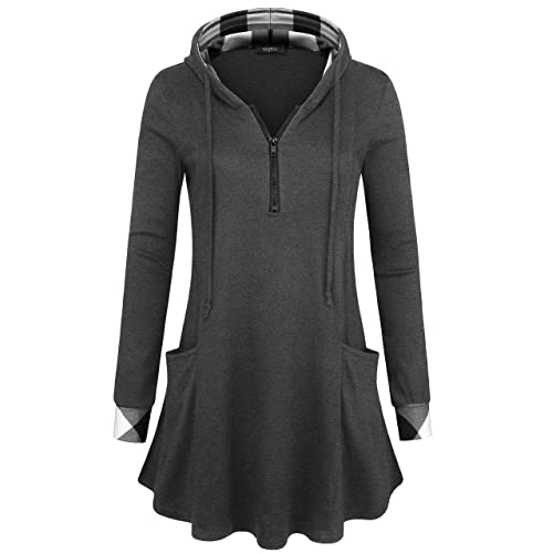 daf54ce7 VALOLIA Women's Pullover Hooded Sweatshirt Long Sleeve T Shirt Color Block  Thin Tunic Top with Pockets