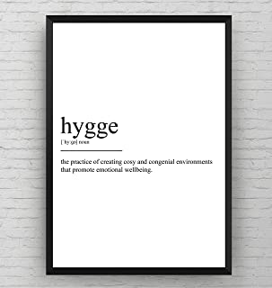 Hygge Definition Print - Nordic Poster Danish Gift Black and White Wall Art Quote Typography Home Decor - Frame Not Included