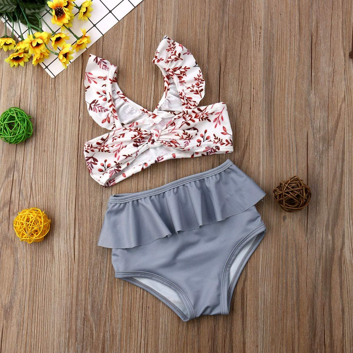 Newborn Toddler Girls 2Pcs Swimsuits Flying Sleeve Tube Tops High Waisted Ruffle Bottoms Bathing Suits Summer Outfits