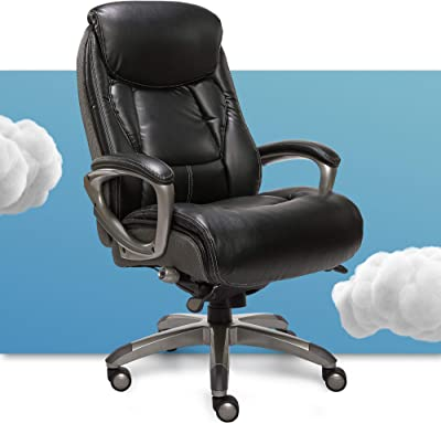 Serta Executive Office Chair with Smart Layers Technology, Leather and Mesh Ergonomic Computer Chair with Contoured Lumbar and ComfortCoils, Black and Gray