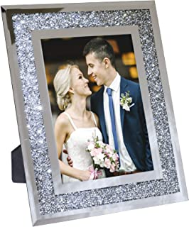 """Best Decorative Picture Frame 8""""x10"""" Photo Holder Glass Mirror with Sparkling Crystal Boarder. Use Standing with Included Easel or Ready to Hang. Review"""