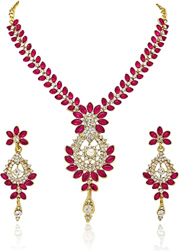 Gold Plated Jewellery Set For Women Pink AGR261