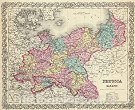 Historic Map - 1856 Prussia And Saxony. - Vintage Wall Art - 30in x 24in