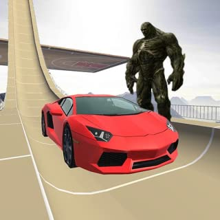 Heroes vs Monsters Super sports car stunts challenge, Scary and Horror characters compete with Heroes in the car driving simulator racing game