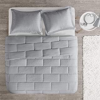 Intelligent Design Avery Seersucker Down Alternative Comforter Mini Set Full/Queen Grey