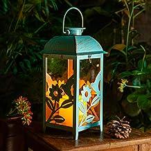 Solar Lantern Outdoor Hummingbird Blue Decor Antique Metal and Glass Construction Mission Solar Garden Lantern Indoor and ...