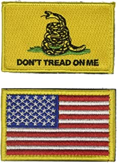 AxeSickle USA Flag Patch 2x3 Inch Don't tread on me Patch American Flag Tactical Military Morale Patch Border USA United States for Uniform Emblem 2 Pcs.