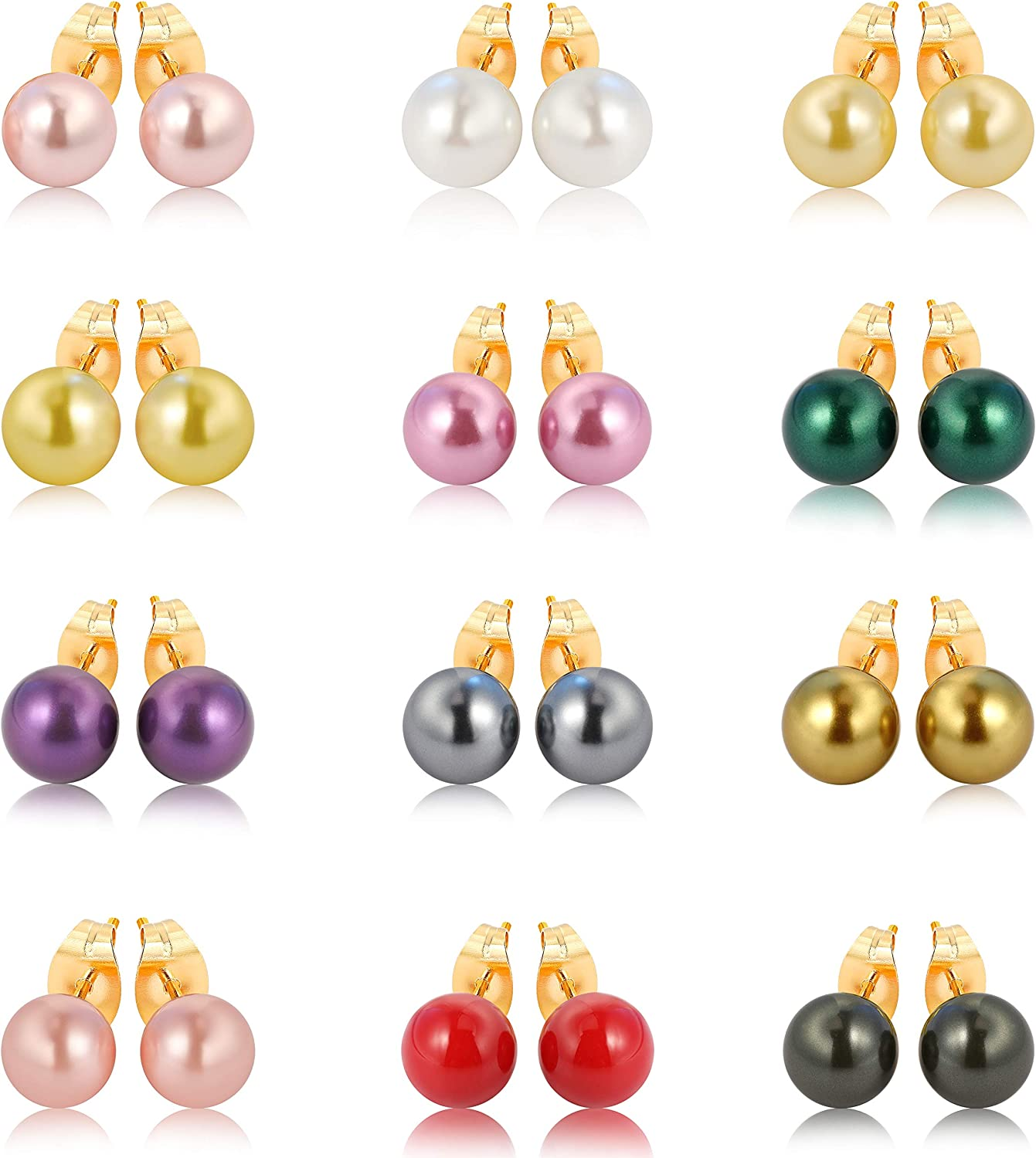 LIZOL 12 Pairs Colors Glass Pearl Earrings Assorted Mixed Stainless Steel Hypoallergenic Starter Set Gift Set for Women kids Girls
