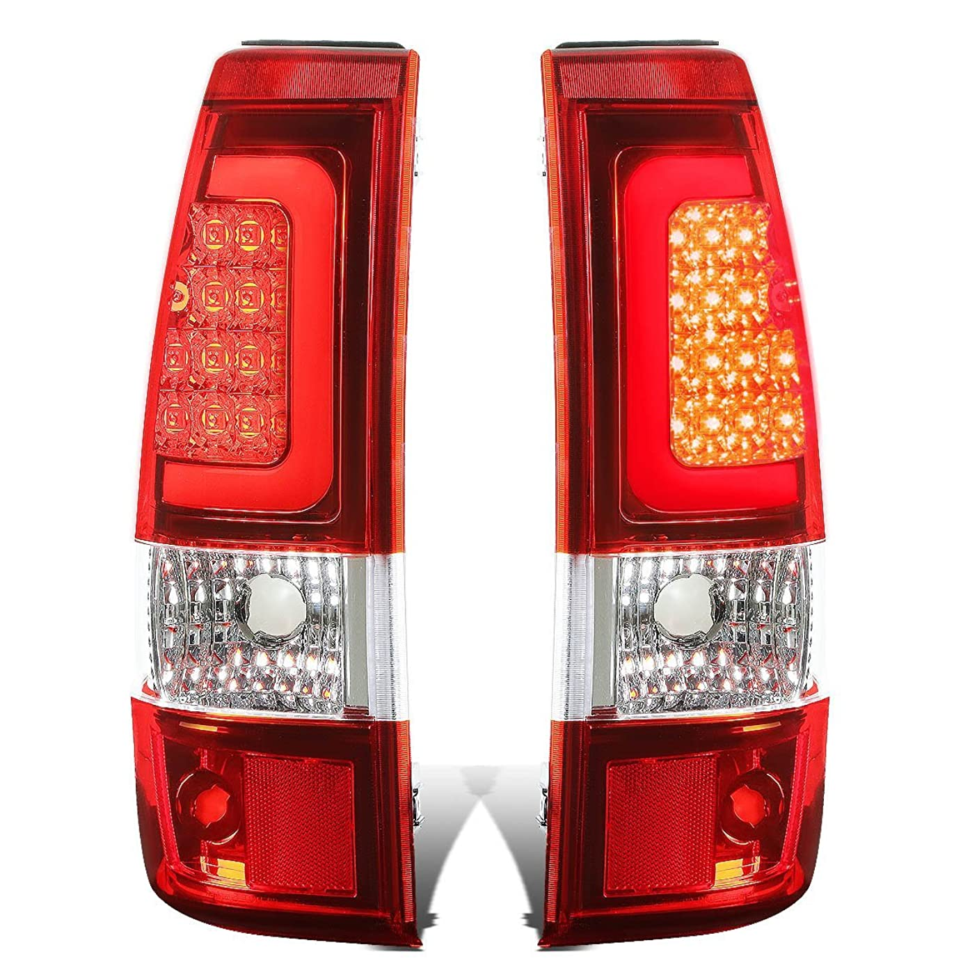 DNA Motoring TL-CSIL03-LED-3D-CH-RD Tail Brake Lights, Driver and Passenger Side