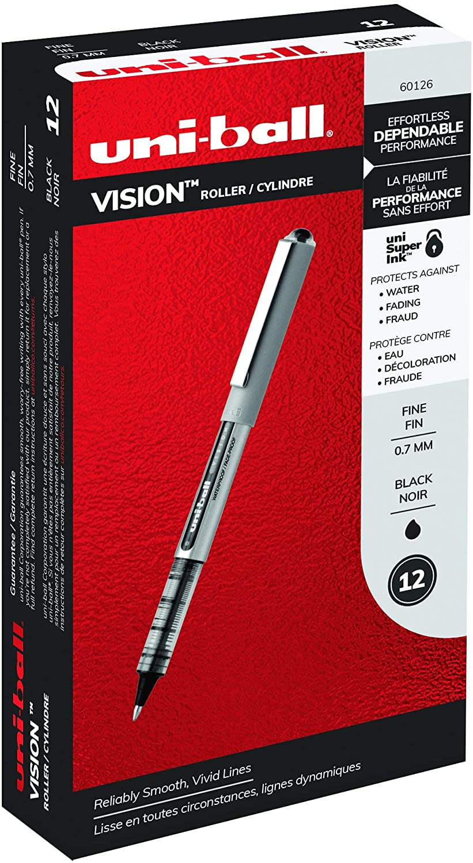 uni-ball Vision Memphis 35% OFF Mall Rollerball Pens Fine 0.7mm 12 C Black Point