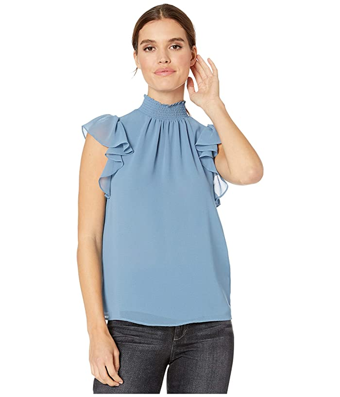 1.STATE  Flutter Sleeve Smocked Neck Blouse (Storm Blue) Womens Blouse