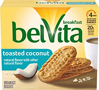 belVita Toasted Coconut Breakfast Biscuits, 5 Packs (4 Biscuits Per Pack)