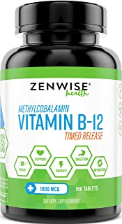 Vitamin B12 - 1000 MCG Supplement - Natural Energy Booster - Benefits Heart, Digestive and Brain Function - 160 Count Time...