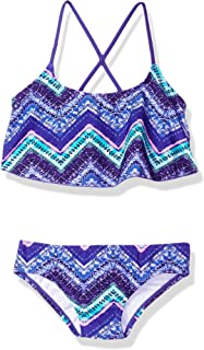 Kanu Surf girls Kirsten Chevron Flounce Bikini Beach Sport 2-Piece Swimsuit Bikini Set