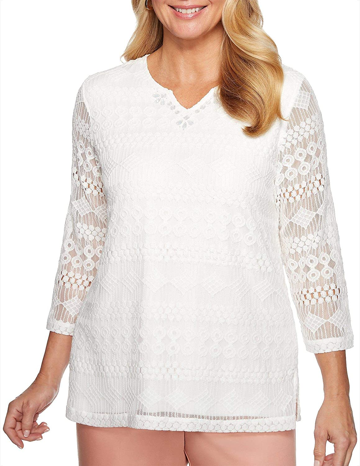 Alfred Dunner Women's Good to Go Solid Lace Top Ivory