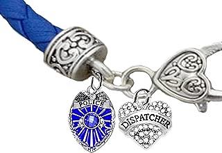 Policewoman, Dispatcher Heart, Blue Leather Bracelet, Hypoallergenic, Safe-No Nickel, Lead,or Cadmimum
