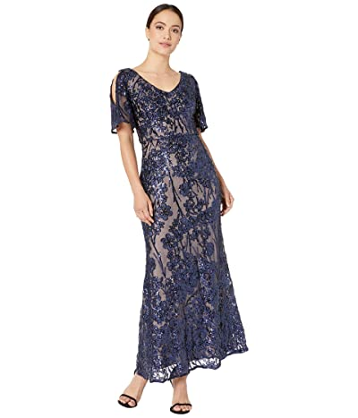 Alex Evenings Petite Long V-Neck A-Line Dress with Cold-Shoulder Flutter Sleeve (Navy/Nude) Women