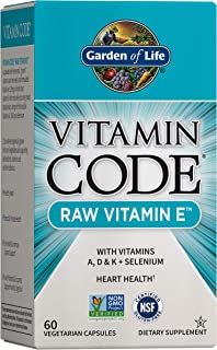 Garden of Life Vitamin E - Vitamin Code Raw Vitamin E Supplement with Vitamins A, D & K Plus Selenium, Fruit, Veggies & Pr...