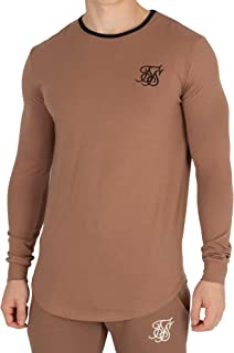 Sik Silk Men's Ringer Gym Longsleeved T-Shirt, Brown