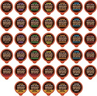 EKOCUPS Organic & Fair Trade Gourmet Hot or Iced Coffee Single Serve Cups for Keurig K Cup Brewer Variety Pack Sampler, 40 Count
