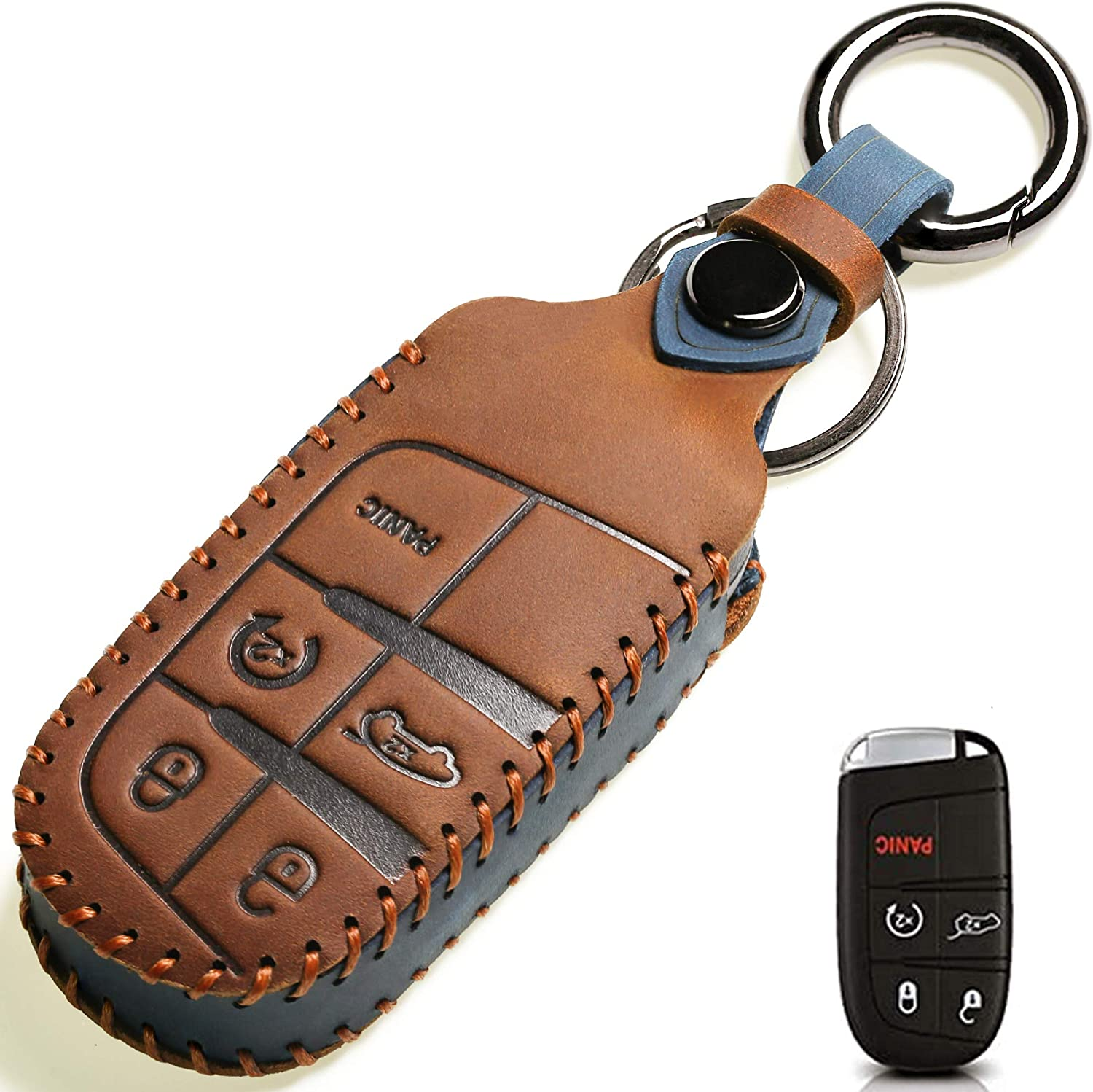 Leather Car Key Fob Cover, Suit for Keyless Remote Control for Jeep Grand Cherokee Dodge Challenger Charger Dart Durango Journey Chrysler 200 300 Fiat etc (A Style, Brown) …