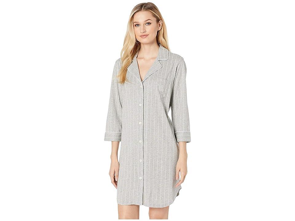 LAUREN Ralph Lauren Essentials Bingham Knits Sleep Shirt (Grey Stripe) Women