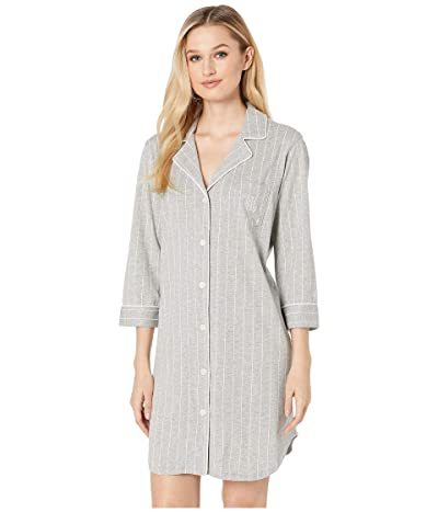 LAUREN Ralph Lauren Essentials Bingham Knits Sleep Shirt (Grey Stripe) Women