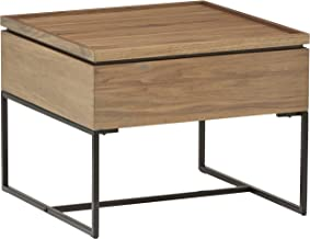 Rivet Axel Lift-Up Storage Wood and Metal Side End Table, Walnut and Black
