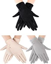 3 Pairs Women Sun Protective Gloves UV Protection Sunblock Gloves Touchscreen Gloves for Summer Driving Riding (Color Set 1)