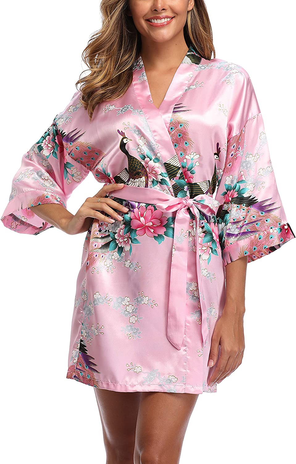 Women's Ranking integrated 1st place Satin Bridesmaid Kimono Robes Short and Peacock Popular B Floral