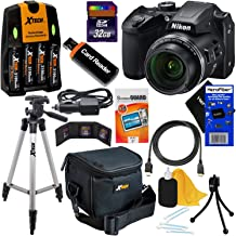 Nikon COOLPIX B500 Wi-Fi, NFC Digital Camera w/40x Zoom & HD Video (Black) + 4 AA Batteries with Charger + 10pc 32GB Deluxe Accessory Kit w/HeroFiber Cleaning Cloth, Compatible with Nikon B500