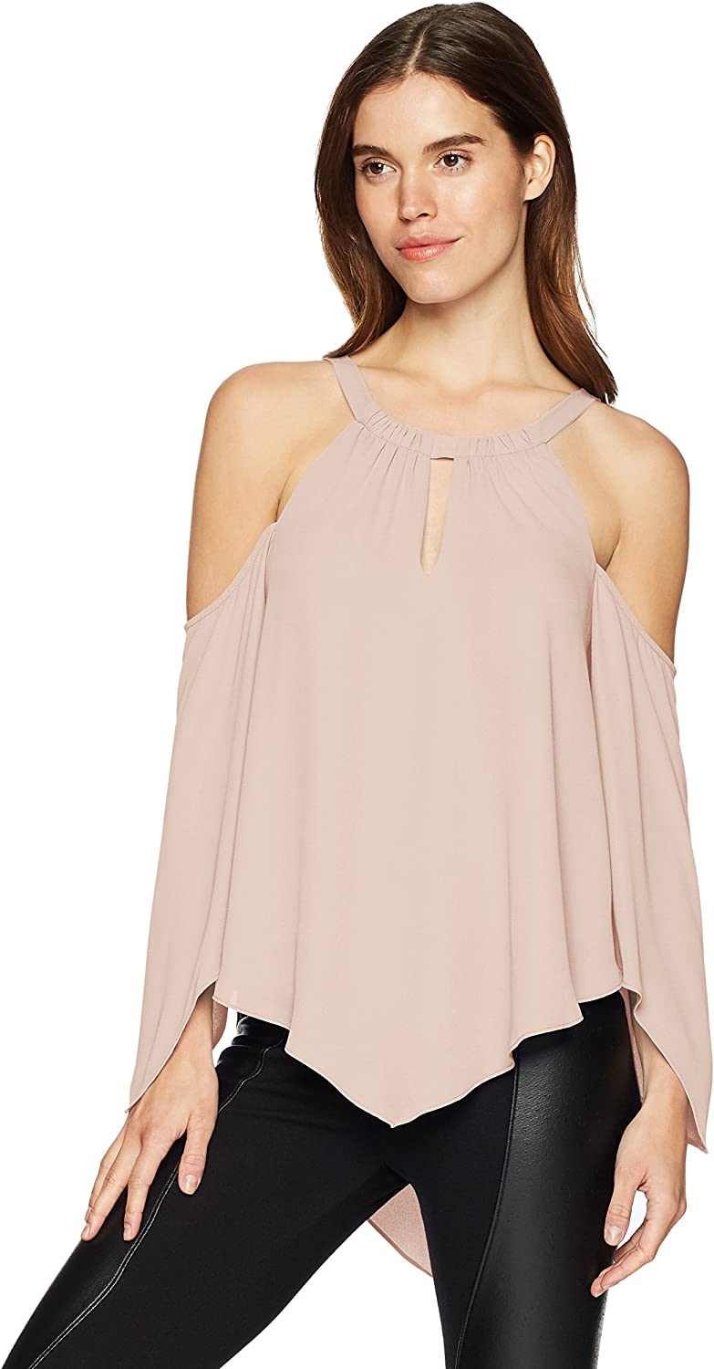 BCBGMAXAZRIA Womens Jax ColdShoulder Halter Top Blouse