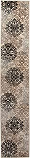 Superior Elegant Leigh Collection Area Rug, 8mm Pile Height with Jute Backing, Chic Contemporary Floral Medallion Pattern, Anti-Static, Water-Repellent Rugs - Beige, 2' x 11' Runner Rug