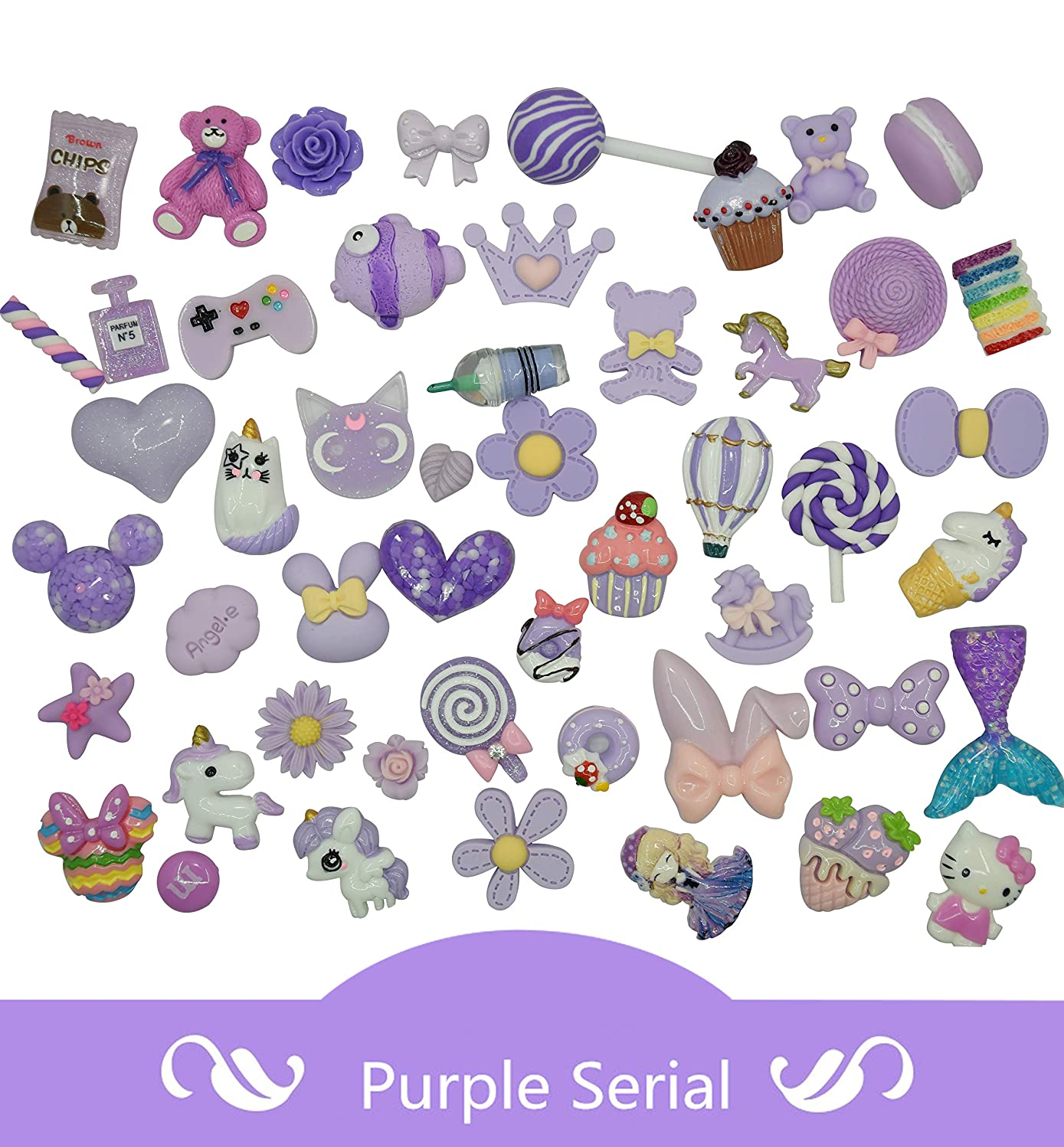AMOBESTER Mix Candy Flower DIY Craft Decoden Charms Flatback 50Psc Violet Purple Serial