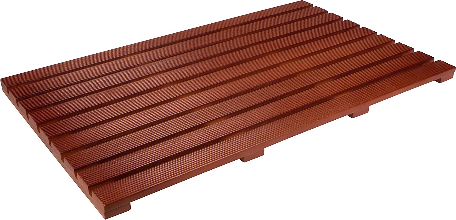 31.5  Solid Teak Wood Non Slip Spa Shower or Door Mat by Trademark Innovations