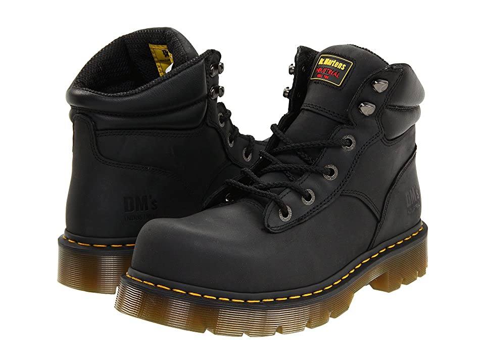Dr. Martens Burnham ST 6 Tie Boot (Black Industrial Greasy) Work Lace-up Boots