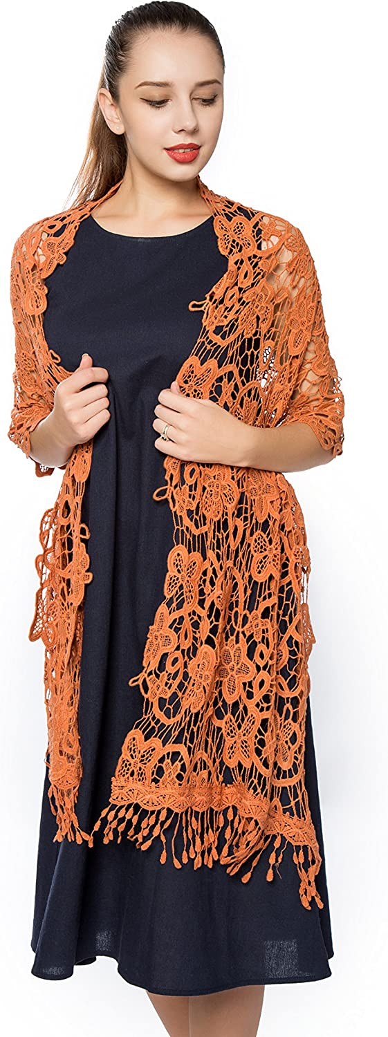Women Hollow Out Hook Flower Cotton Lace Scarf,Gzcvba New Spring Fashion Soft wrap shawl
