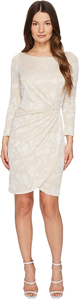 Jersey Long Sleeve Snake Jacquard Print Dress
