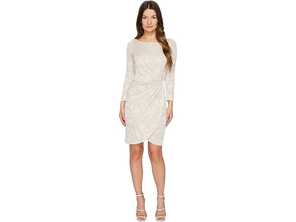 Just Cavalli Jersey Long Sleeve Snake Jacquard Print Dress (White) Women