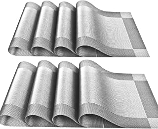YOY Set of 8 Kitchen PVC Placemats - Fahion Dining Room Table Eat Mats for Kids Rectangle Washable Decor Jacquard Woven Plastic Vinyl Simple Style Place Mats, Silver-Gray