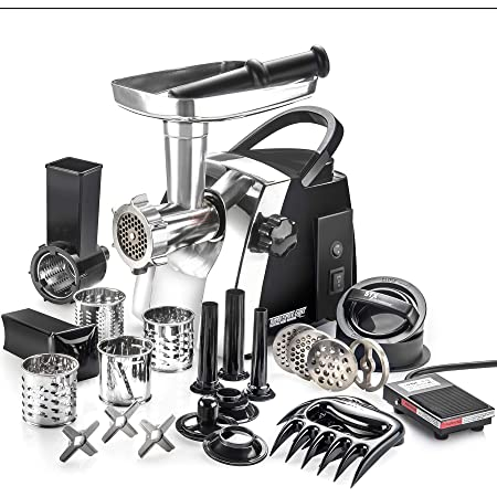 STX Turboforce Cadet - Platinum Edition w/Foot Pedal - Electric Meat Grinder & Sausage Stuffer - a Complete Vegetable Slicer/Shredder/Grater Attachment Kit along with a Kubbe Maker plus Much More!