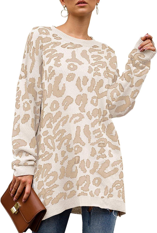 GinkgoTree Women's Oversized Tampa Arlington Mall Mall Leopard Knitted Sweater Print Long